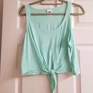 Teal PINK crop top with knot on front